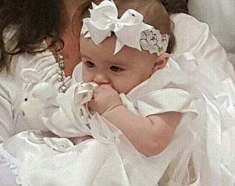 Grosgrain Boutique Bow Lace Headband or Hairclip.  Newborn bow.  Newborn Headband.