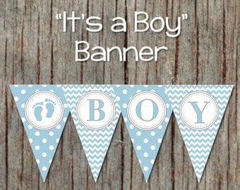 Its a Boy Baby Shower Decorations Pennant Banner Instant Download Printable Decorations Powder Blue Grey Baby Feet 089