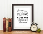 Winston Churchill - Courage to Continue - Quote print - Typographic Printable art wall decor - Inspirational quote poster - Instant download