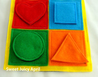 Shape and Color Matching Velcro Quiet Book Page