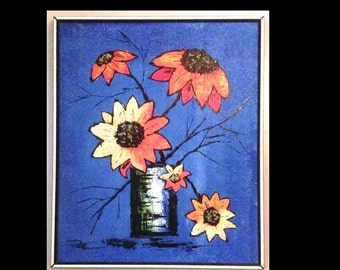 Modern Art Still Life: Blue ,Yellow and Orange Sunflower Oil Painting