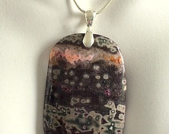 Natural Ghost Agate Necklace - Black, Gray and Multicolored Agate Pendant
