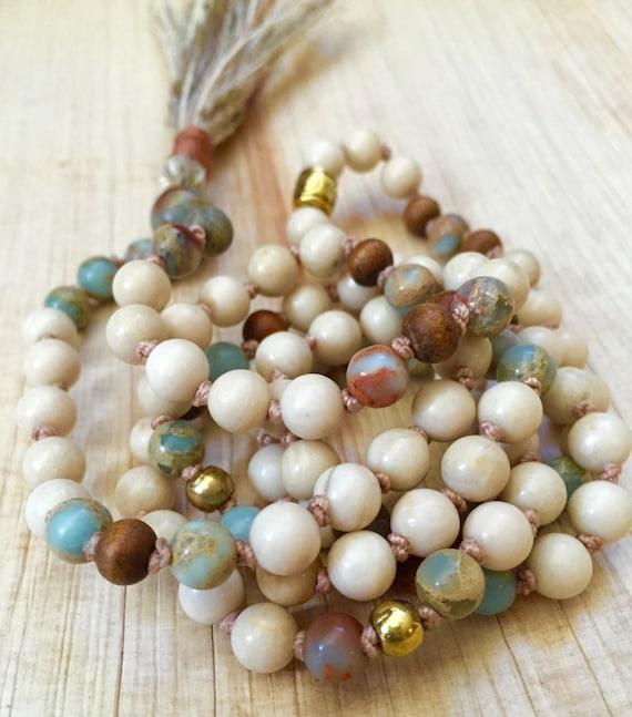 Riverstone Mala Beads, African Opal, Sandalwood , Meditation Beads , Inner Peace, Calm , Fashion Trend , Beach, Summer Jewelry