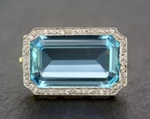 Art Deco Aquamarine Brooch  Antique Art Deco Aquamarine  Diamond 18ct Gold and Platinum Brooch