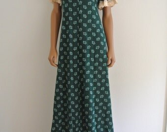 1960s Hippie Dress Emerald Green Flannel Bell Sleeves Low Back Maxi Boho S/M by The Cottager