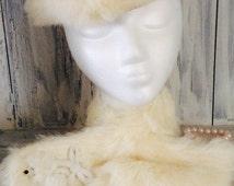 Rabbit fur hat and collar, vintage rabbit fur hat, fur beret and a collar vintage fur set,fur hat set , girls fur hat set , antique hat