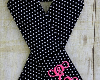 Monogrammed Camera Strap Cover - Choose Your Initial Color - Black & White Polka Dot - Padded - Lens Cap Pocket - DSLR - SLR