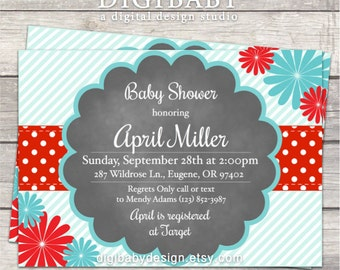 Baby Shower invitations, Daisy, red and turquoise, printable digital files