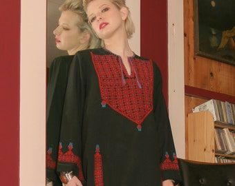 1970s vintage black with red embroidery, long sleeve, bohemian, Moroccan, caftan dress
