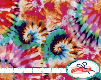 TIE DYE Fabric by the Yard, Fat Quarter Retro Fabric Red Teal Blue Orange Fabric 100% Cotton Fabric Quilting Fabric Apparel Fabric t3-39