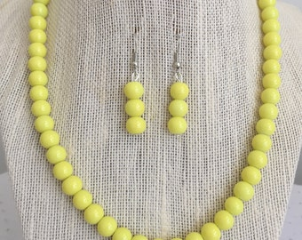 Yellow Beaded Necklace, Yellow Bridal Summer Wedding Jewelry, Bridesmaid Necklaces, Bridal Party Jewelry Gifts, Yellow Beaded Earrings