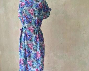 Floral 70s Summer Sun A-Line Dress M | 38 - 40 | US 8 - 10 | UK 10 - 12