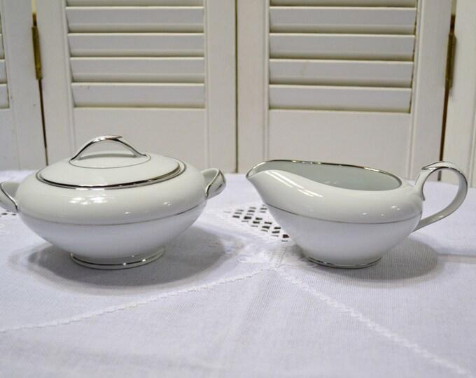 Vintage Noritake Derry Sugar Bowl and Creamer White Silver Platinum Japan Panchosporch