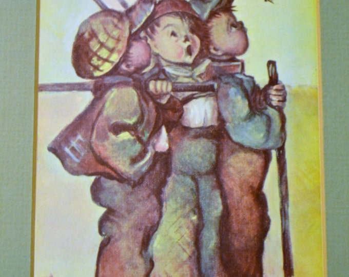 Hummel Print Three Boys Framed with Glass Vintage Art Germany PanchosPorch