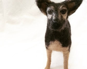 German Shepherd Sculpture - Needle Felted Dog - MADE To ORDER