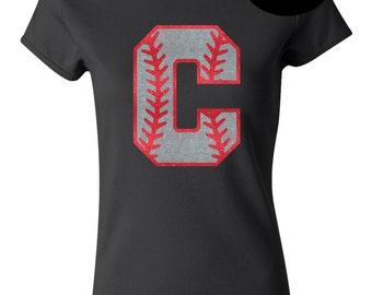 Custom Glitter Softball or Baseball Initial Tee Shirt - Multiple Color Options