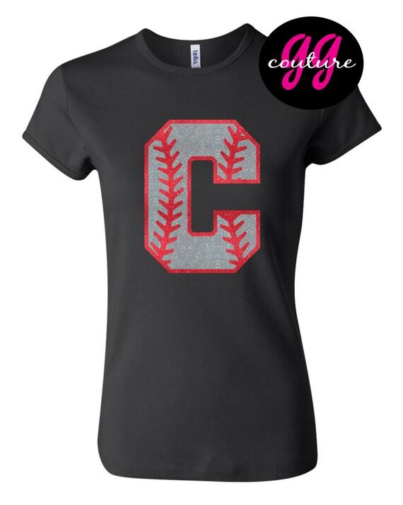Custom Glitter Softball Or Baseball Initial Tee Shirt