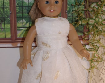 Fits American Girll doll, 18 inch doll clothes, Cream and Gold Sheer Dress, gold mesh Shoes