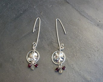 Silver flower earrings a sparkly hoop, with garnet and lemon quartz drops