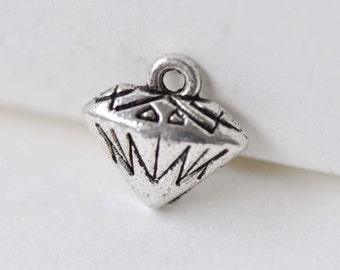 Antique Silver Small Cartoon Diamond Charms Hollow Back  10x11mm Set of 30 A7937