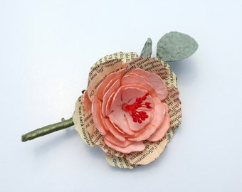 Peony Book Flower Paper Boutonniere - Pale Rose Grooms Buttonhole
