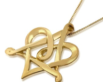 14K Yellow Gold Star Of David Heart Necklace