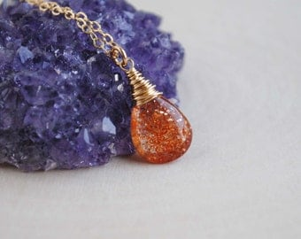 Sunstone Necklace, Gold Sunstone Necklace, Sunstone Jewelry