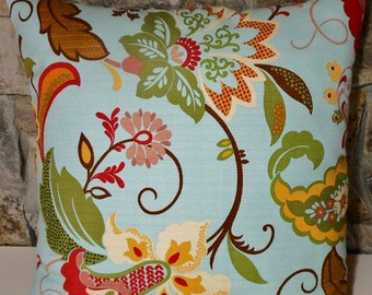 Filomena Basketweave Pillow Cover//Light Blue Floral Throw Pillow//'Custom Pillow Cover