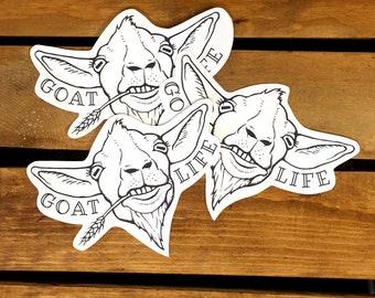 3 Goat Stickers. Goat Life. Die Cut Stickers. Hipster Stickers. Animal Stickers. Funny Stickers. Cute Goat. Goat Art. Goat Love. Goat Gift.
