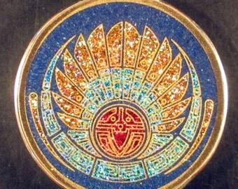 Mayan Headdress Crop Circle Gemstone Pendant