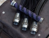 Leather Floggers, Dungeon Tool Kit - Purple Dragon, Set of Three Floggers, Adult Toys, BDSM Toys, Mature