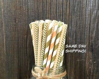 100 Peach and Gold Stripe and Chevron Paper Straws - Wedding, Bridal Shower, Free Shipping!