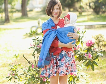 Baby ring sling - Baby Carrier - Card as a gift - blue