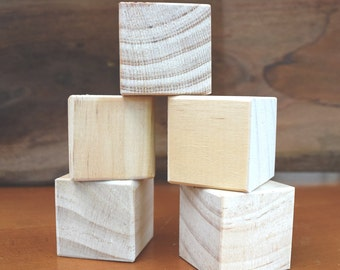Wooden block craft blanks - set of 3, 5 or 12 blocks - 4cm (1.57 INCH) solid wooden blocks - DIY - wooden craft supply