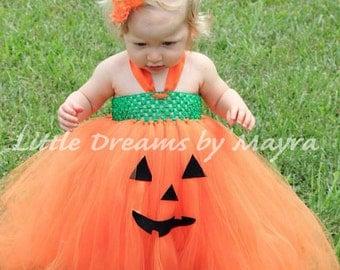 Pumpkin tutu dress and matching flower clip size newborn, 3m, 6m, 9m, 12m, 18m, 24m, 2T, 3T