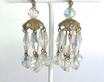 White Clear Aurora Borealis Vintage Crystal Chandelier Earrings - Sparkly and Stunning!