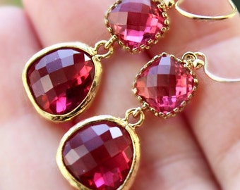 Raspberry Red Bridesmaid Earrings /Rubellite Quartz Faceted Earrings/ Pinkberry-Fuchsia- Hot Pink Dangle Earrings/Formal Prom Earrings