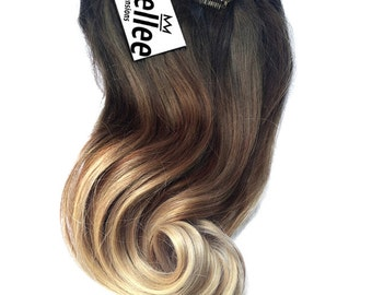 Malibu Ombre Clip In Hair Extensions / Luxury Quality Russian 100% Human Hair / European Balayage Clip In Hair Extensions / 120g