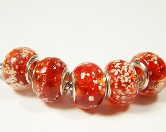 1x Murano Bead - Red With Bubbles - Glass Beads - Lampwork Beads - Fits European - A280