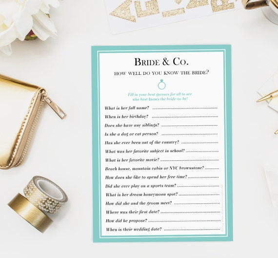 Bride & Co. How Well Do You Know The Bride Game Bridal Shower
