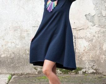 Blue dress tunic knitwear