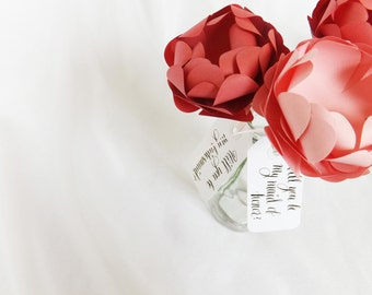 Wedding Paper Flower, Paper Peonies, Pink Peonies, Will You Be My Bridesmaid, Bridesmaid Gift, Maid Of Honor, Calligraphy Tags, Proposal