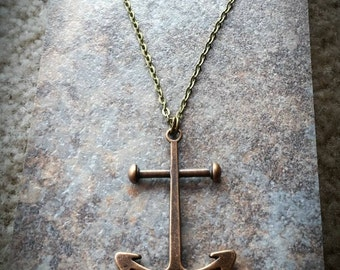 Large Bronze Anchor Necklace - Nautical jewelry