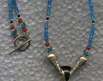 Manatee Necklace, Manatee Jewelry, Manatee Gem Inlay, Ocean Lover, Sea Dream, Ocean Inspired, Swarovski Necklace, Crystal Necklace, Apatite