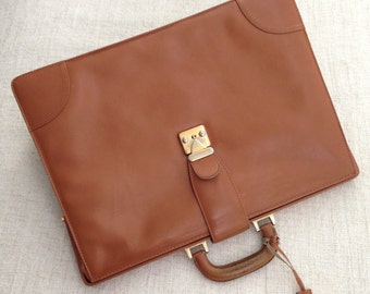 80s Italian Oversized Brown Leather Briefcase