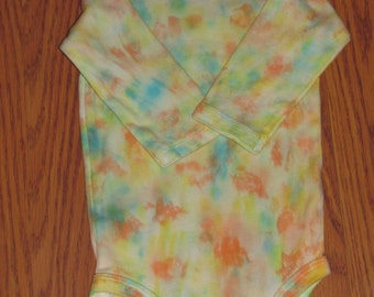 Yellow Tie Dyed Onesies Bodysuit with Long Sleeves in Size 3 to 6 Months