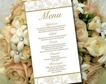 "Gold Wedding Menu Card Template -  Wedding Reception Menu - ""Wild Flower Bouquet"" Antique Gold Menu Printable Download - Formal Wedding Menu"