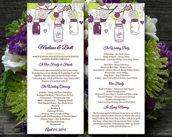 Rustic Wedding Program Template Download | Mason Jar Program Plum Lime Green Brown Ceremony Program | Printable Tea Length Wedding Program
