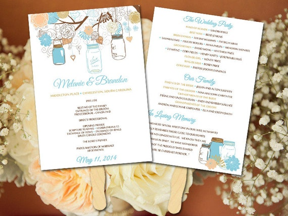 program diy wedding program fan program template wedding program fan