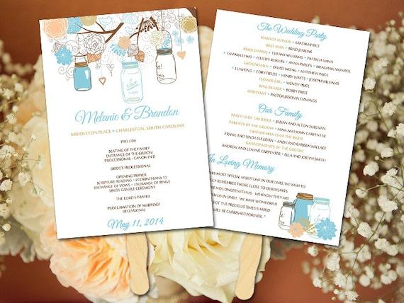 program diy wedding program fan program template wedding program fan